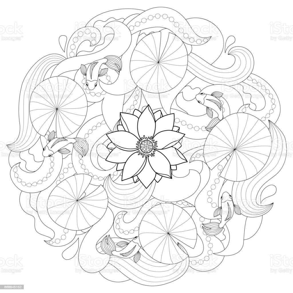 Ilustración de Lotus Y Página Para Colorear De Peces y más banco de ...
