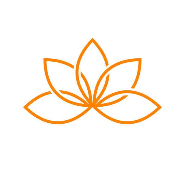 ilustrações, clipart, desenhos animados e ícones de design de símbolo de linha artística de lótus - lotus
