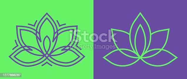 istock Lotus Blossom Symbol Icons 1277866287