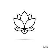 Lotus blossom vector icon.