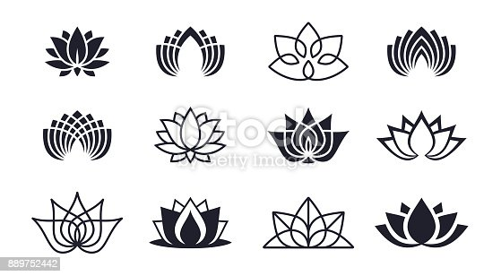 Lotus blossom symbols and icons.