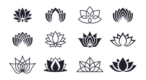 Lotus Blossoms Lotus blossom symbols and icons. indonesia stock illustrations
