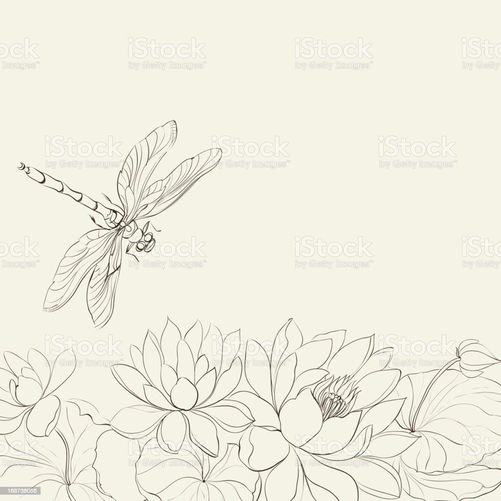 Ilustración de Flor De Loto Y Libélula y más banco de imágenes de ...