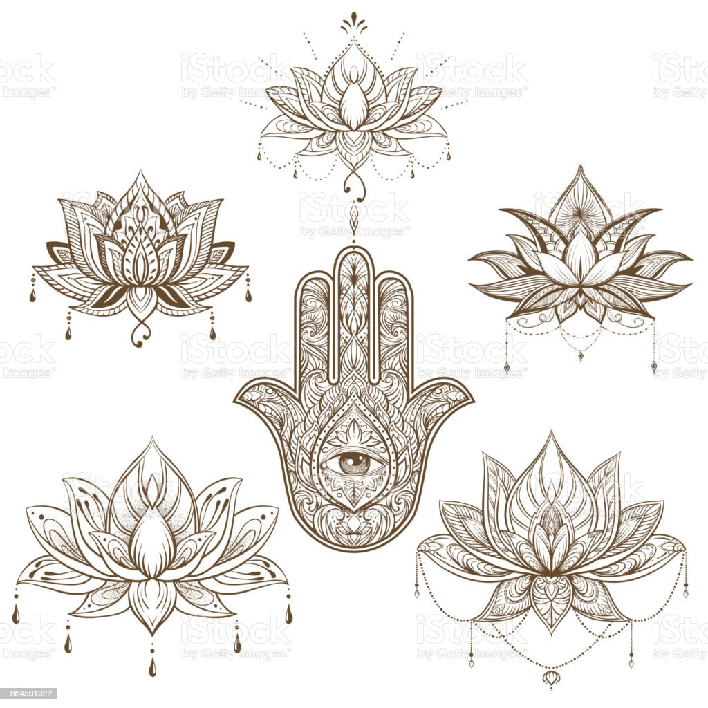 Lotus flower and hamsa set vector boho style yoga india arabic lotus flower and hamsa set vector boho style yoga india arabic mightylinksfo