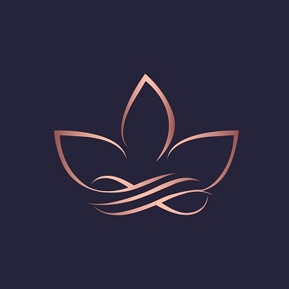 Lotus flower and infinity sign logo.Abstract decorative icon for beauty, spa and yoga business.