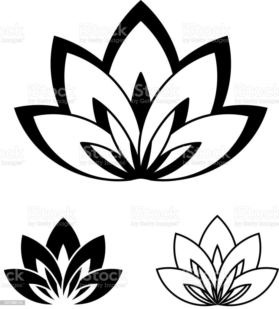 Lotus flower as a symbol of yoga vector art illustration