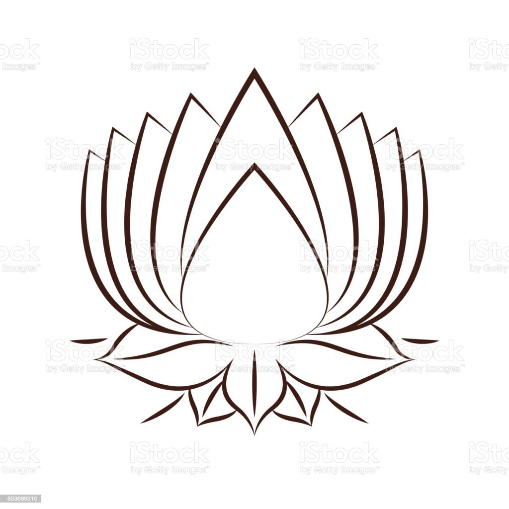 Conception De Lotus Fleur Dessin Icone Isole Cliparts Vectoriels