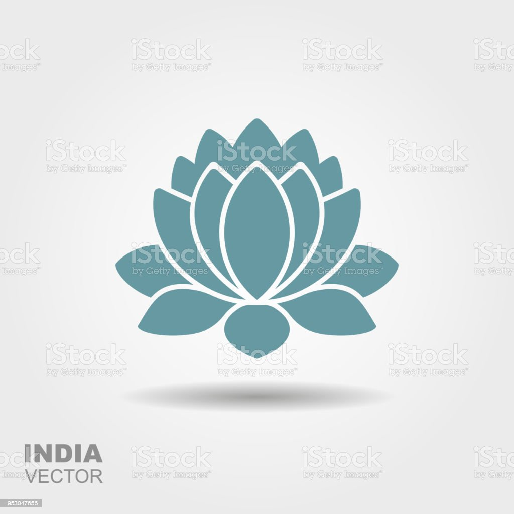 Lotus Flower Flat Icon Stock Vector Art More Images Of Abstract