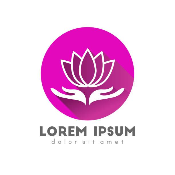 lotus blume symbol konzept - alpenveilchen stock-grafiken, -clipart, -cartoons und -symbole