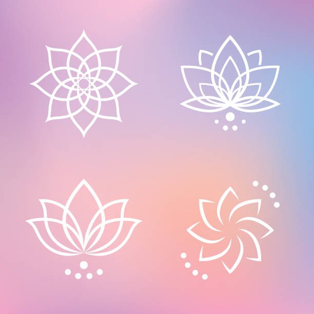 Lotus Flower Icon Set Line graphics. All items are grouped individually for easy editing. Download with 1 EPS10. prayer pose yoga stock illustrations