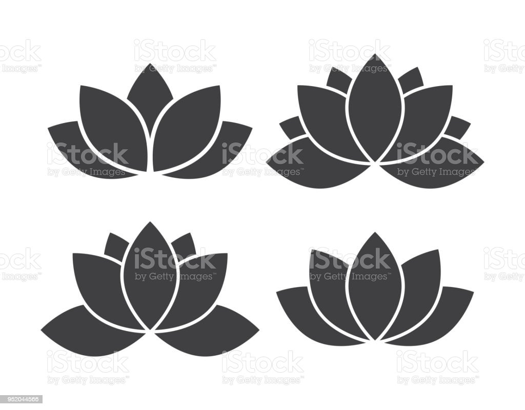 Lotus Flower Icon Set Stock Vector Art More Images Of Abstract