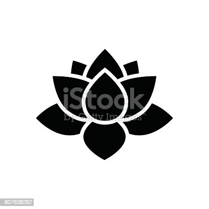 lotus flower icon, simple flower vector illustration, water lily sing