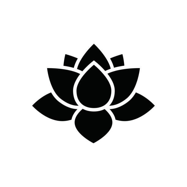 lotus flower icon lotus flower icon, simple flower vector illustration, water lily sing water lily stock illustrations