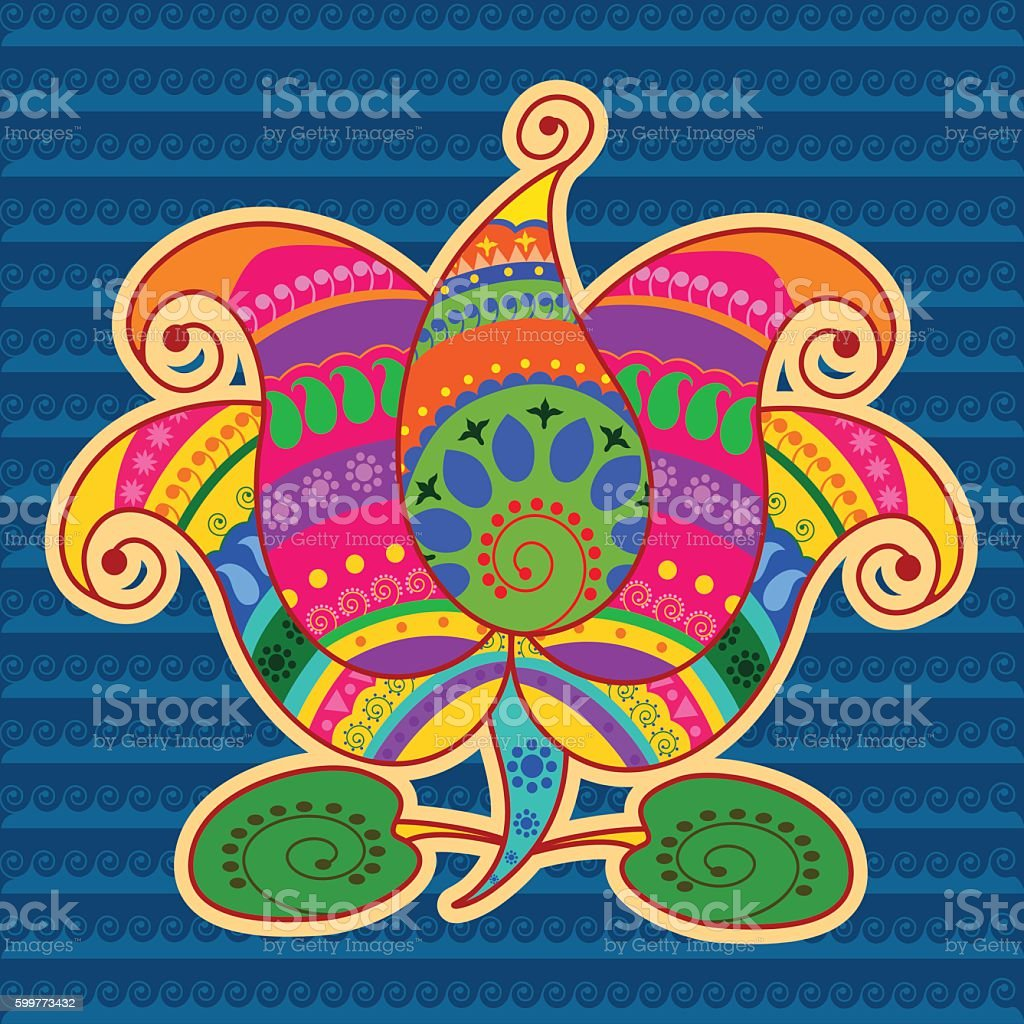 Lotus Flower In Indian Art Style Stock Vector Art More Images Of