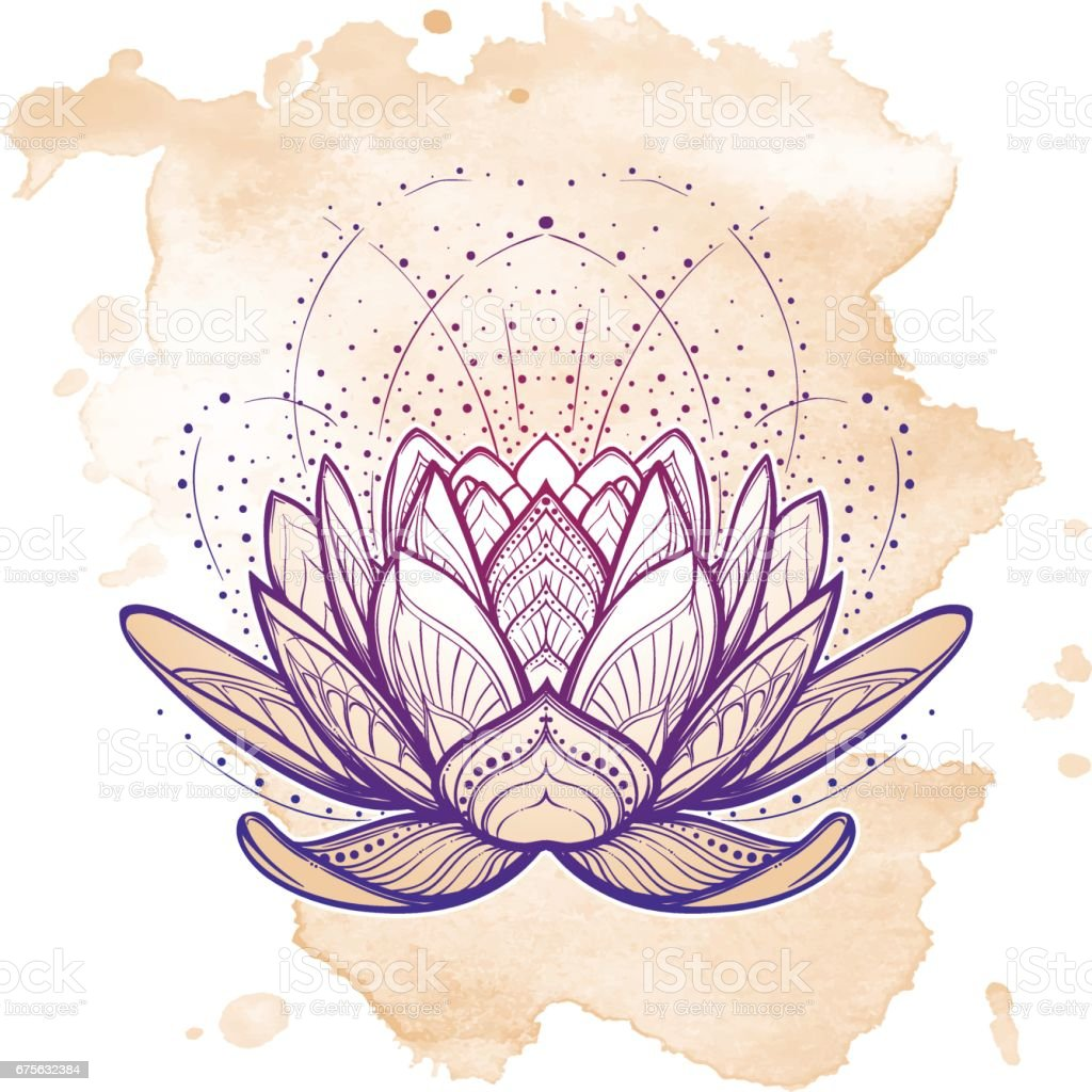 Lotus flower. Intricate stylized linear drawing isolated on grunge background. vector art illustration