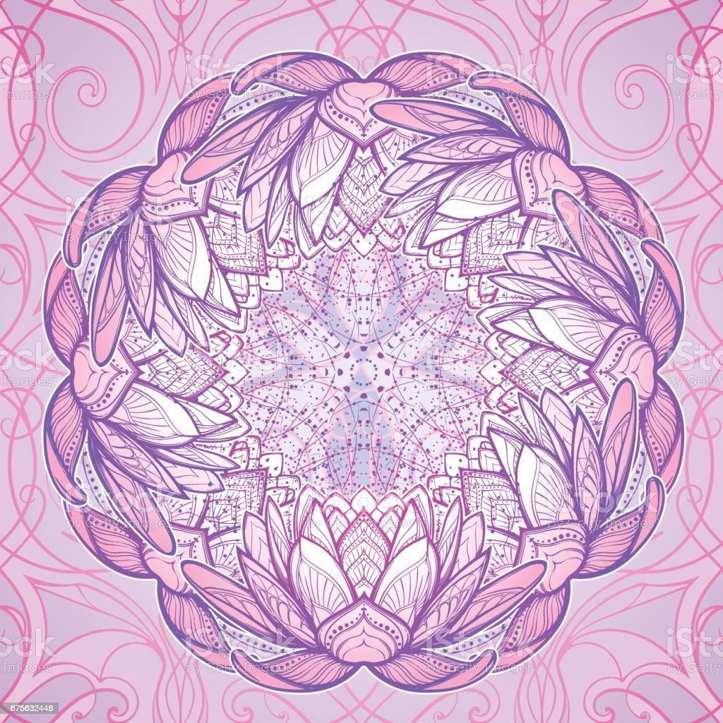 Lotus flower. Intricate stylized linear drawing isolated on pattern vector art illustration