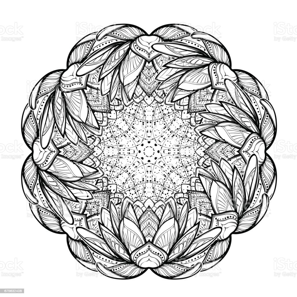 Lotus Flower Intricate Stylized Linear Drawing Isolated On White