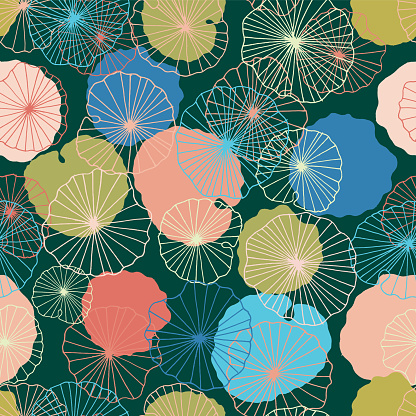 Lotus flower  leaves in a pond seamless pattern background texture in a modern colorful style. Vector.