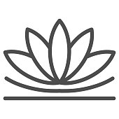 Lotus flower line icon, chinese mid autumn festival concept, lotus on water lily sign on white background, blooming flower from china icon in outline style for web design. Vector graphics