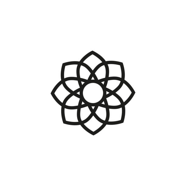 lotus flower line icon - mindfulness stock illustrations