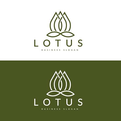 Lotus Flower Logo Design Vector Template