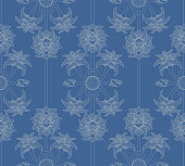 Seamless pattern with Indian lotus (flowers, buds and pods) ornaments in blue and off white. This floral ornament is suitable for fabric, textile, cards, wrapping, wallpaper and other decorative purposes.