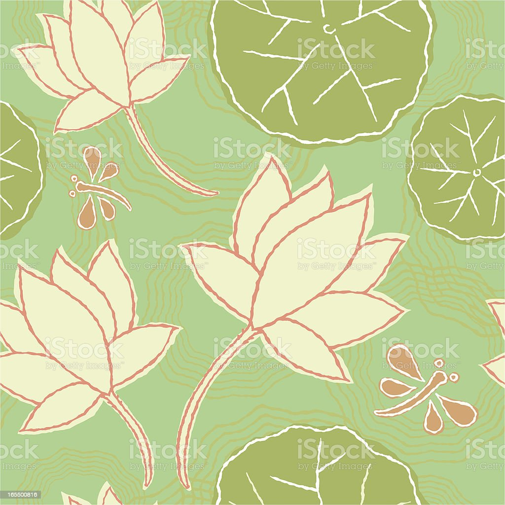 Lotus Flower Seamless Pattern royalty-free stock vector art
