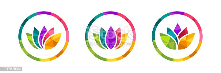 Lotus flower icon set made in colorful low poly design. Polygonal circle with many colors around it. Beautiful vector illustration isolated on white background.