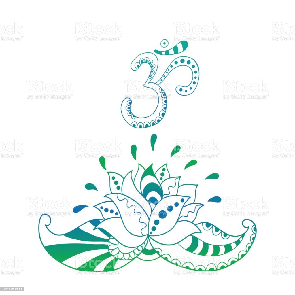 Lotus Flower Silhouette And Symbol Om Water Lily Stock Vector Art