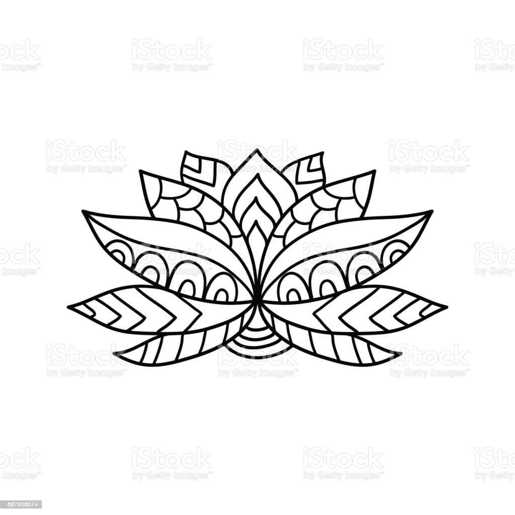 Lotus Flower Silhouette Stock Vector Art More Images Of Adult