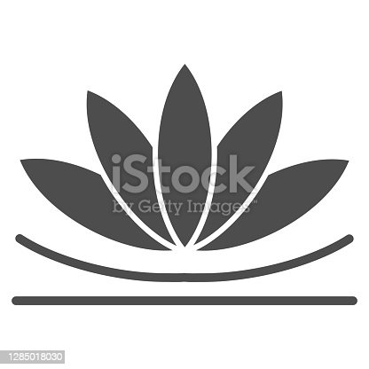 istock Lotus flower solid icon, chinese mid autumn festival concept, lotus on water lily sign on white background, blooming flower from china icon in glyph style for web design. Vector graphics. 1285018030