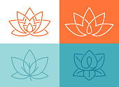 Lotus flower symbols collection.