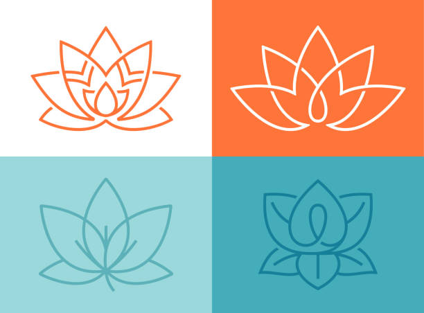 lotus flower symbols - wellness stock illustrations