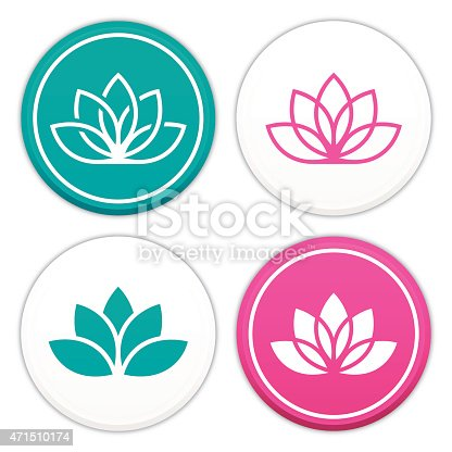 Lotus flower symbols and icons. EPS 10 file. Transparency effects used on highlight elements.
