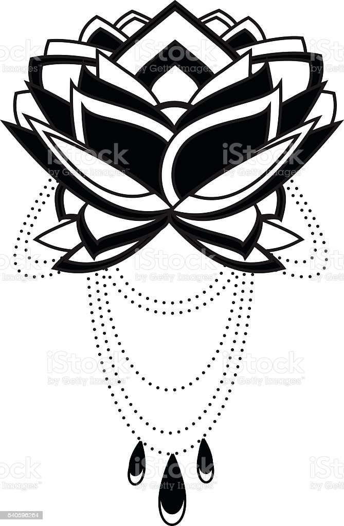 Lotus Flower Tattoo Design Stock Illustration Download Image Now