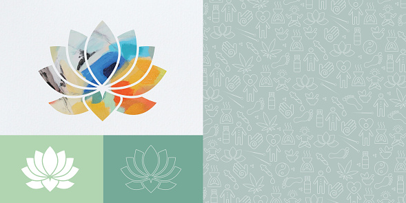 Lotus Flower With Alternative Medicine Icons Set And Pattern