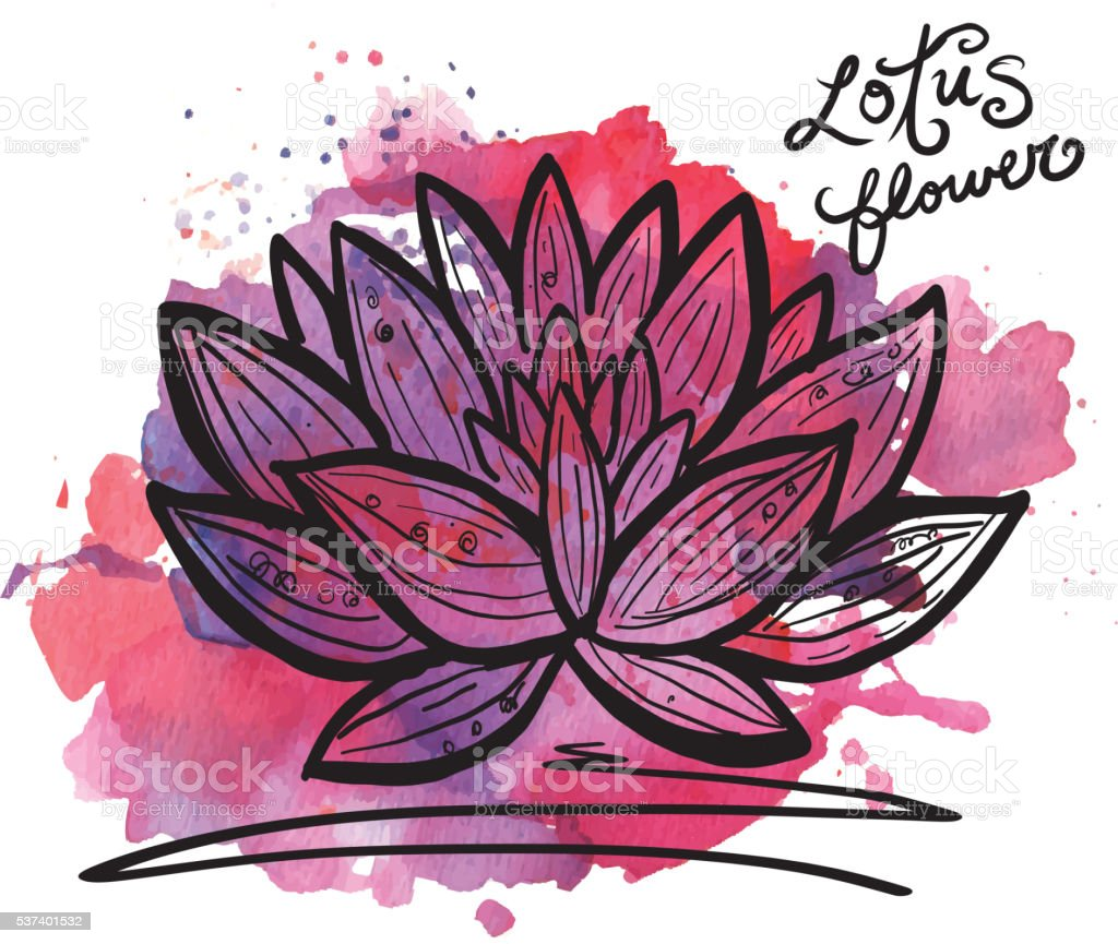 Lotus flower with watercolor texture royalty-free lotus flower with watercolor texture stock vector art & more images of flower