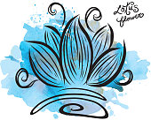 Lotus flower with watercolor texture.