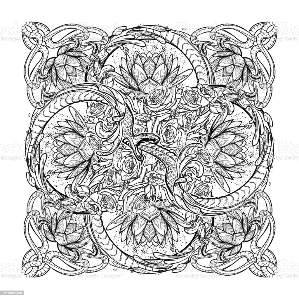 Lotus flowers and snakes arranged in an Intricate cross shaped pattern isolated on black background. vector art illustration