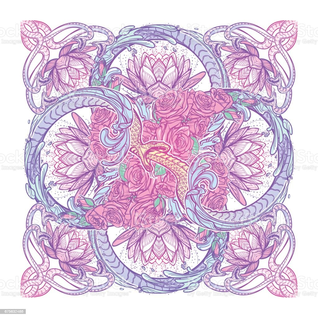 Lotus flowers and snakes arranged in an Intricate cross shaped pattern isolated on white background. vector art illustration