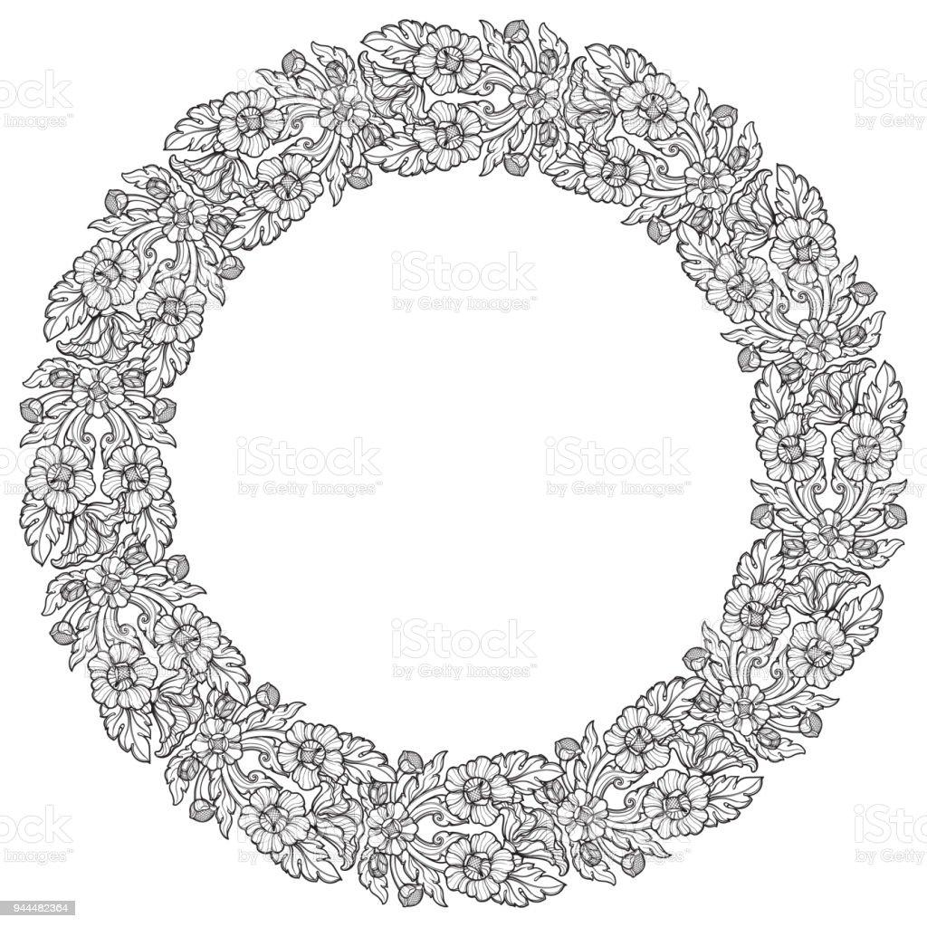 Ilustración de Flores De Loto Dispuestos En Marco Circular ...