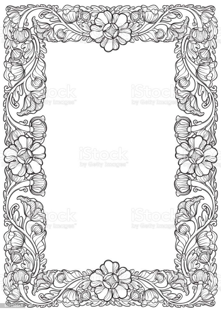 Ilustración de Flores De Loto Dispuestos En Intrincados Marco ...
