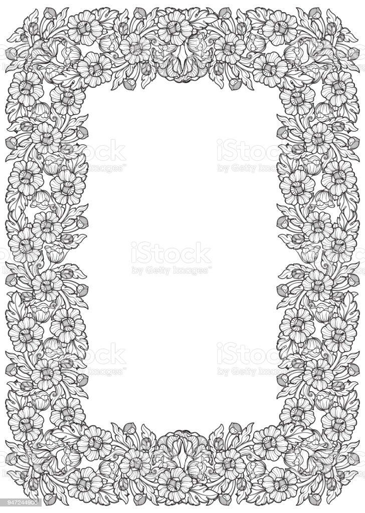 Lotusblumen In Komplizierten Rechteckigen Rahmen Beliebtes ...