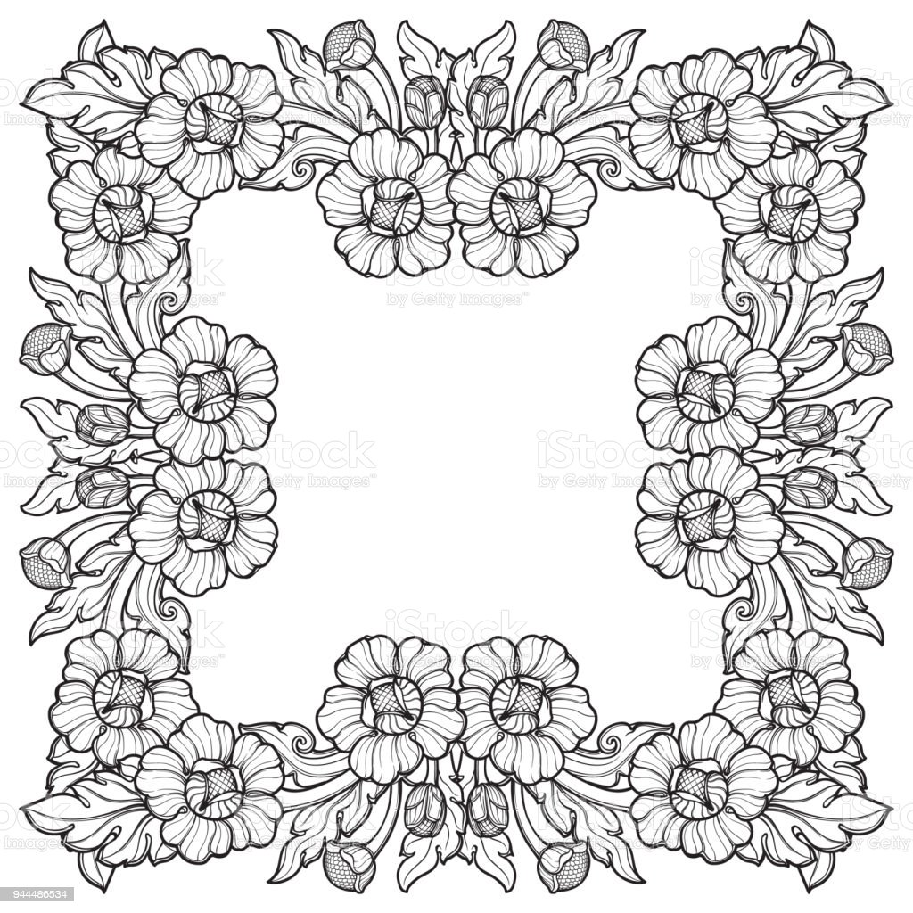 Lotus flowers arranged in intricate square frame popular decorative lotus flowers arranged in intricate square frame popular decorative motif in south eastern asia mightylinksfo