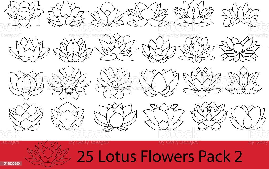 Lotus flowers black and white silhouette, modern flat icons. vector art illustration