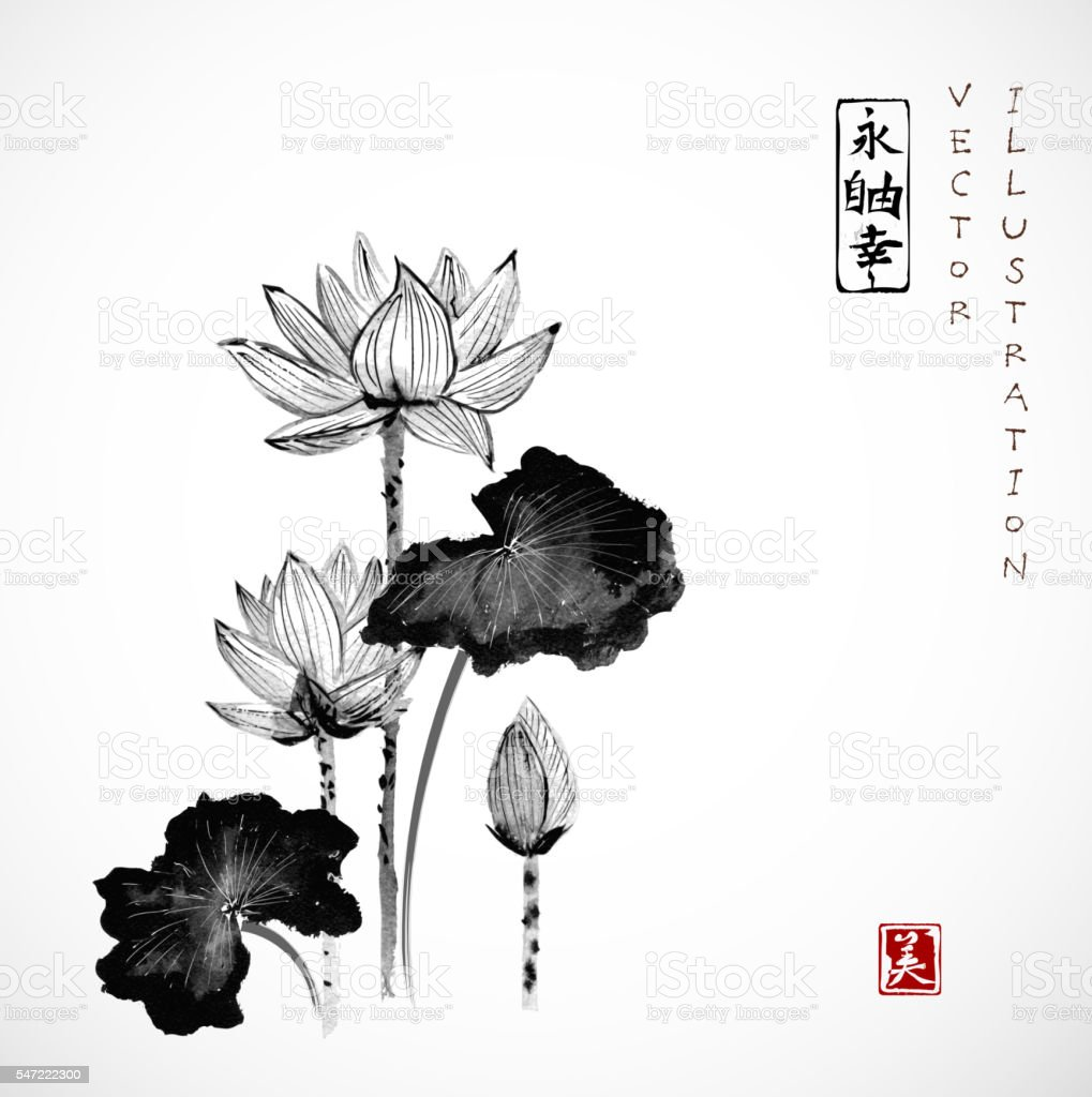 Lotus flowers hand drawn with ink stock vector art 547222300 istock lotus flowers hand drawn with ink royalty free stock vector art mightylinksfo