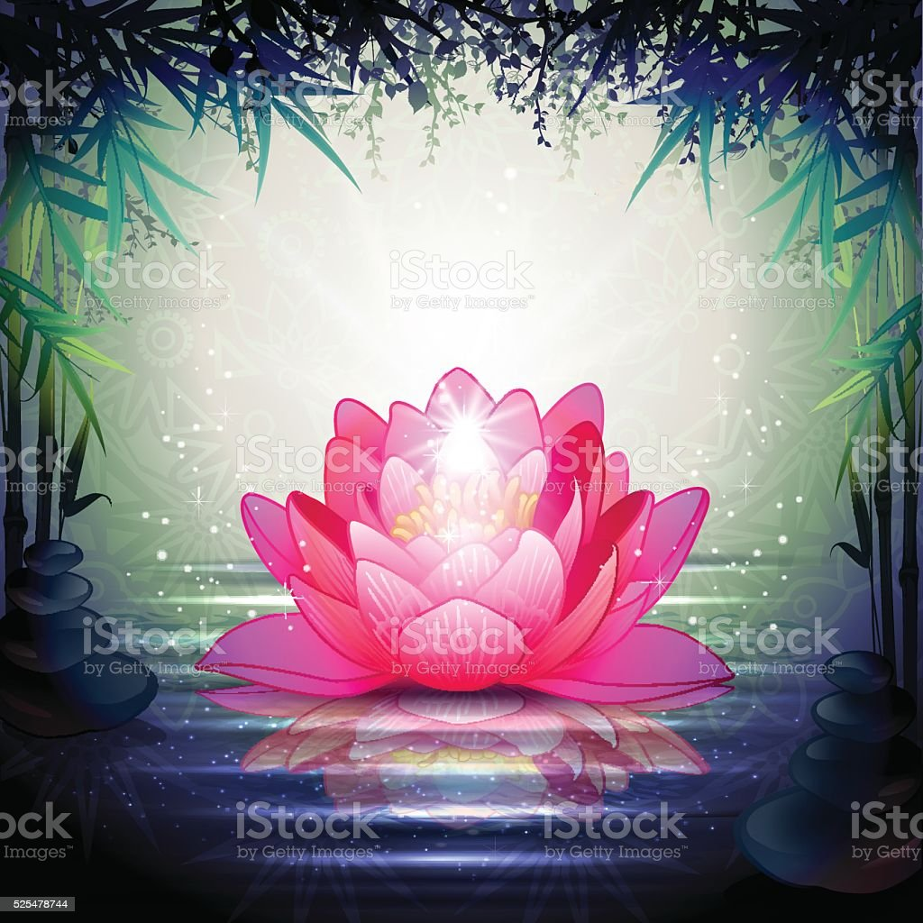 Lotus flowers in a zen garden stock vector art more images of lotus flowers in a zen garden royalty free lotus flowers in a zen garden stock izmirmasajfo