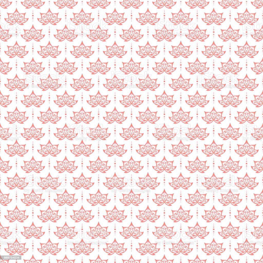 Lotus Flowers Patterns Vector Seamless Pattern Hand Drawn Doodle