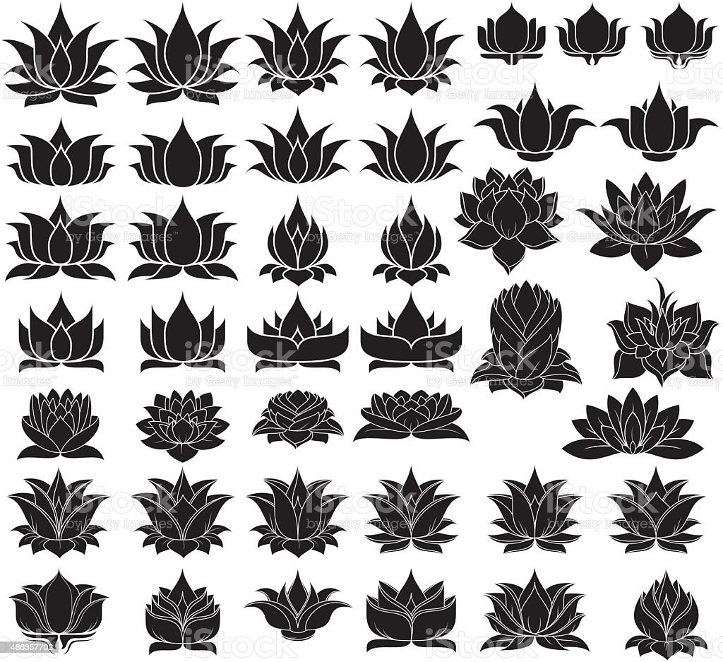 Lotus Flowers Silhouette Stock Vector Art More Images Of 2015