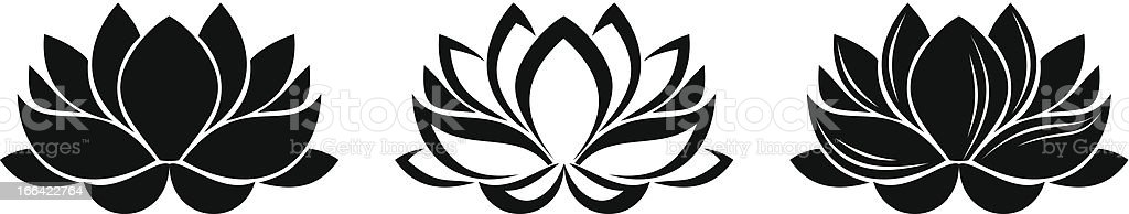 Lotus flowers silhouettes. Set of three vector illustrations. vector art illustration